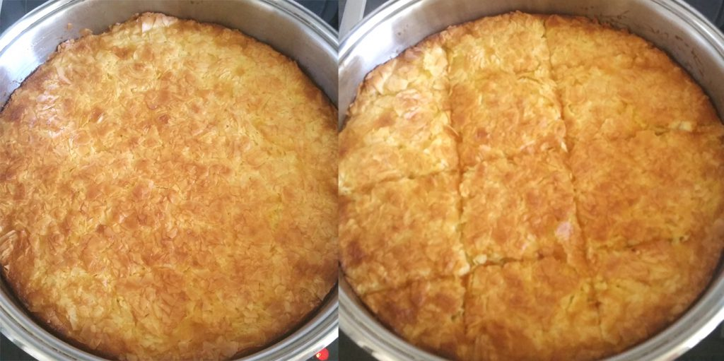 Orange pie before and after syrup