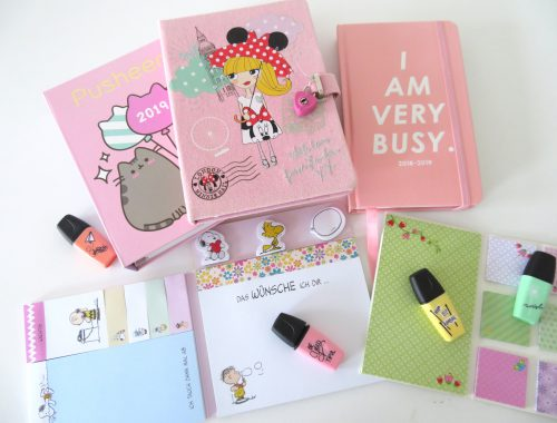 A lot of different pink organisers open on a white table